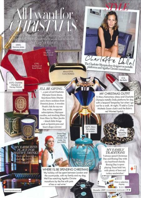 Charlotte Dellal will be gifting Soho Diaries - Harper's Bazaar Dec 2009