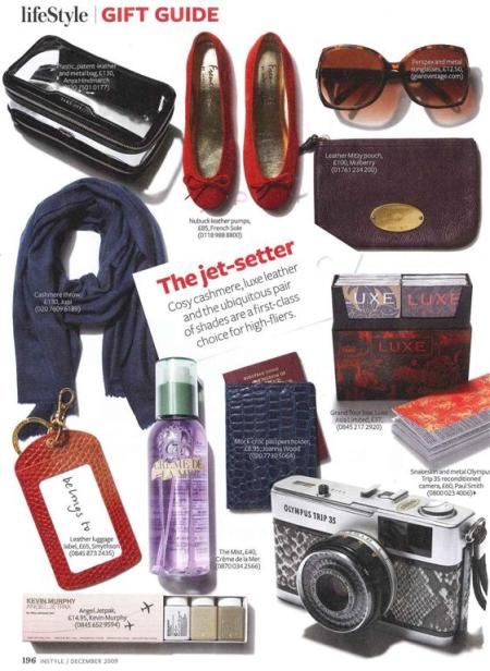 Red Viana ID label for the Jet Setter - InStyle December